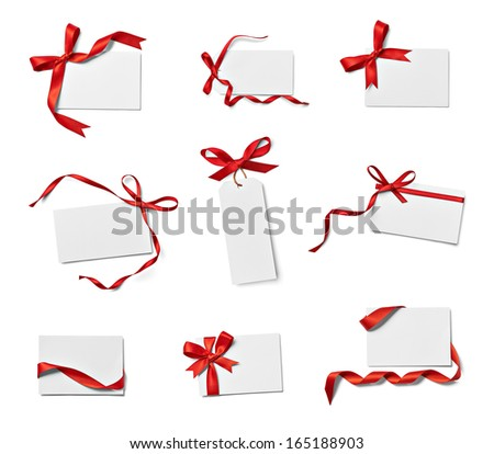 collection of various note card with ribbon bow on white background. each one is shot separately - stock photo