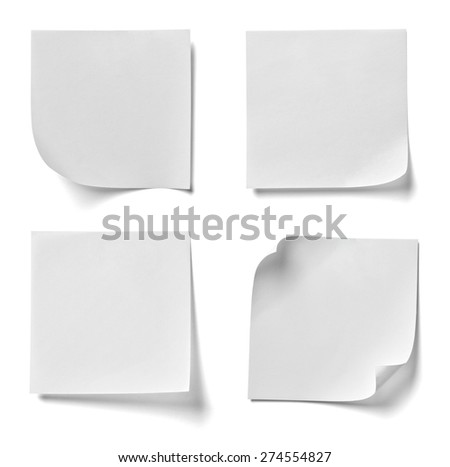 collection of various note paper on white background. each one is shot separately - stock photo