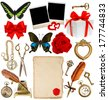collection of various objects for scrapbook. paper page, antique clock, key, postcard, photo frame, feather pen, inkwell, glasses, compass, scissors, flower, butterfly, red ribbon bow, gift box - stock photo