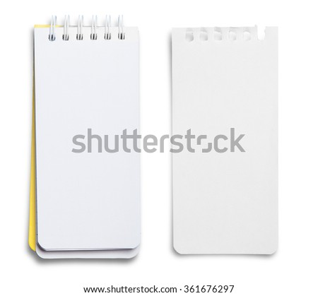 collection of various paper page notebook. textured isolated on the white background - stock photo