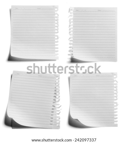 collection of various paper page notebook. textured isolated on the white backgrounds - stock photo