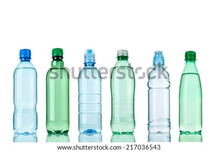 collection of  various plastic bottles on white background. each one is shot separately - stock photo