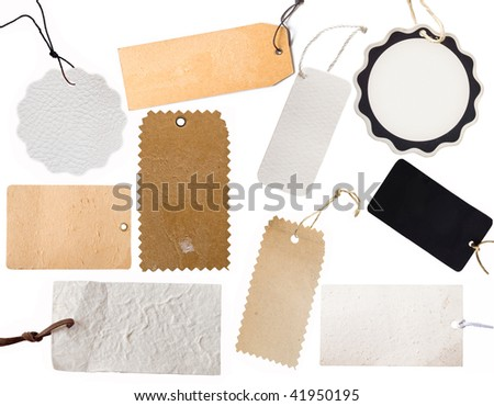 collection of various price tag or address labels - stock photo