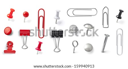 collection of various pushpins on white background. each one is shot separately - stock photo