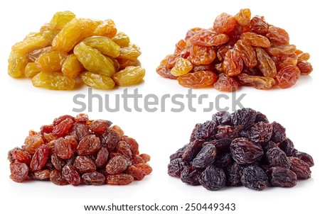 Collection of various raisins isolated on white background - stock photo