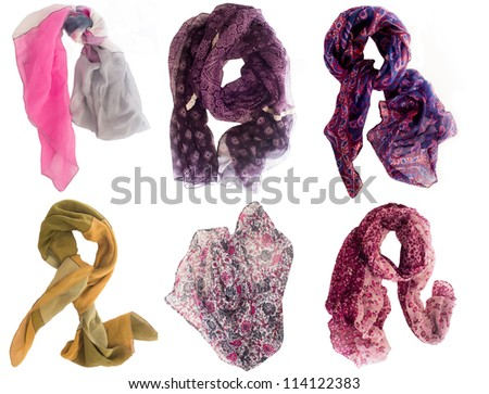 collection of various scarfs - stock photo