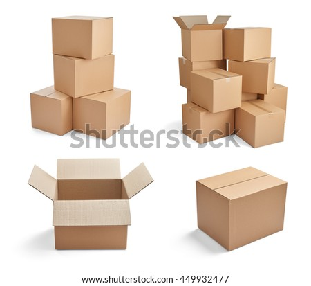 collection of  various stacks of cardboard boxes on white background - stock photo