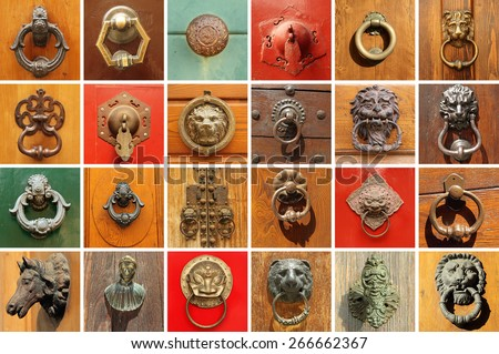 collection of various  stylish old door knockers  - stock photo