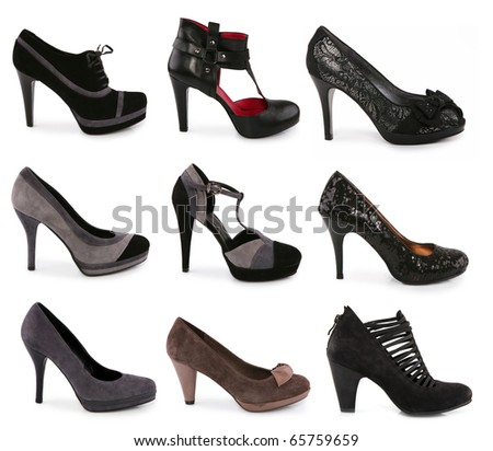 Collection of various types of shoes on white background - stock photo