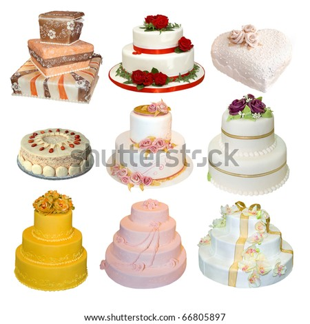 Collection of various types of wedding cakes isolated on white - stock photo