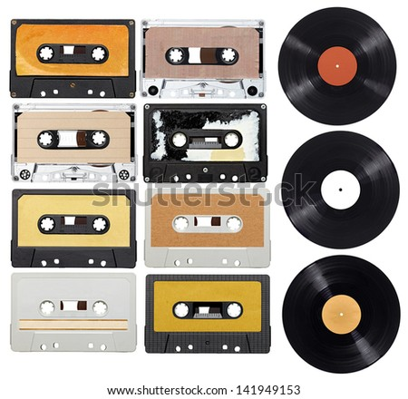 collection of various vintage audio tapes and vinyl on white background. each one is shot separately - stock photo