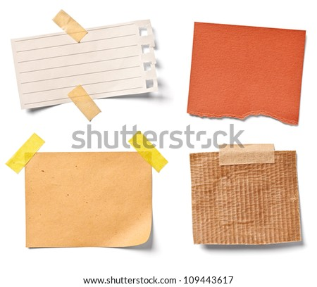 collection of  various vintage note papers on white background. each one is shot separately - stock photo