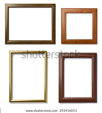 collection of  various vintage wood frame on white background - stock photo