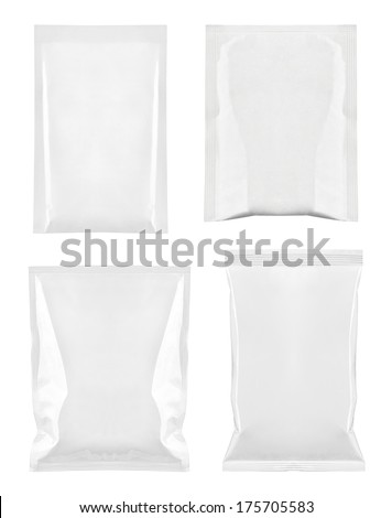 collection of  various white bag package template on white background. each one is shot separately - stock photo