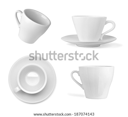 collection of  various white cup on white background. each one is shot separately - stock photo