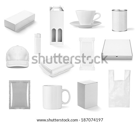 collection of  various white print templates on white background. each one is shot separately - stock photo