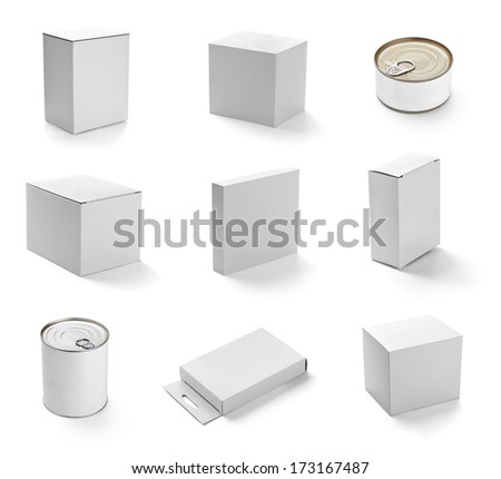 collection of  various white tin can and boxes on white background. each one is shot separately - stock photo