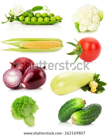 collection of vegetables isolated on the white background - stock photo