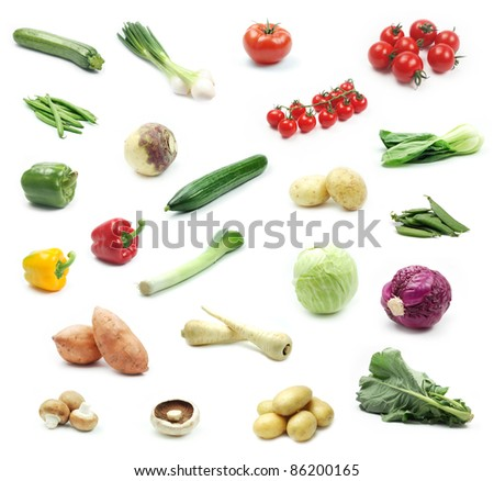 Collection of vegetables on white background - stock photo