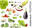 Collection of vegetables with a light shadows isolated on white - stock photo