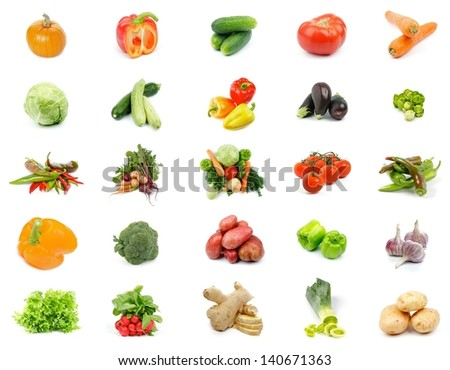 Collection of Vegetables with Cabbage, Potato, Leek, Peppers, Garlic, Ginger, Lettuce, Cucumber, Tomato, Carrot, Pumpkin, Zucchini, Squash, Eggplant, Broccoli and Radishes isolated on white background - stock photo
