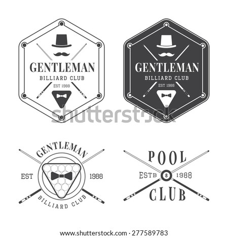 Collection of vintage billiard labels, emblems and logos - stock photo
