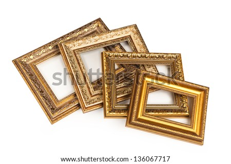 Collection of vintage frame, isolated on white. - stock photo