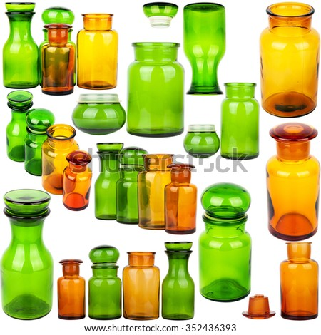 Collection of vintage glass jars isolated on white background - stock photo