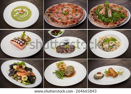 Collection of warm meat dishes. Includes lamb, pork, chicken and beef dishes - stock photo