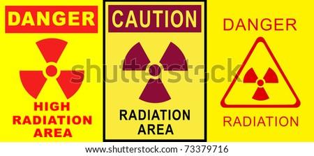 Collection of warning radiation signs - stock photo