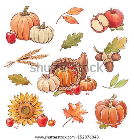 Collection of watercolor autumn illustrations. Thanksgiving theme - stock photo