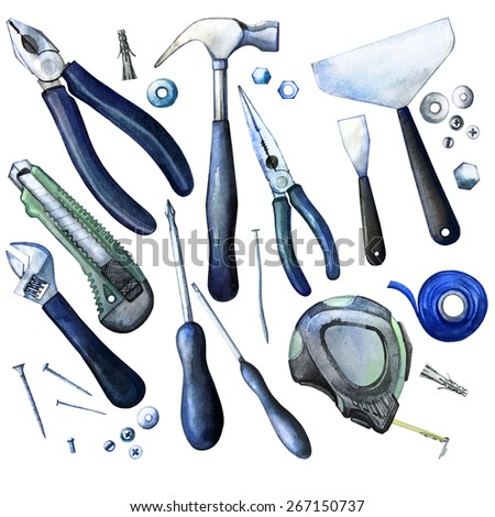 Collection of watercolor tools: cutter, screwdriver, pliers, adjustable wrench, bolt, screw, nut, scotch tape, measuring tape, hammer, dowel nail. Design elements isolated on white background - stock photo