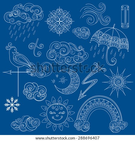 Collection of Weather Signs in Fairytale Style. Set of Ornate Design Elements - stock photo