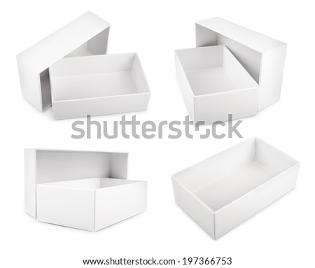 Collection of white blank boxes isolated on white background - stock photo