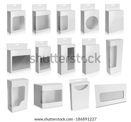 Collection of White Product Package Box With Window isolated over white background. - stock photo