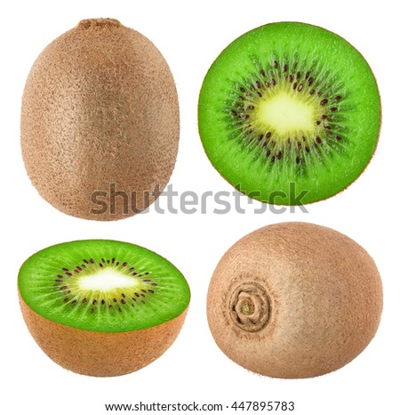 Collection of whole and cut kiwi fruits isolated on white background with clipping path - stock photo