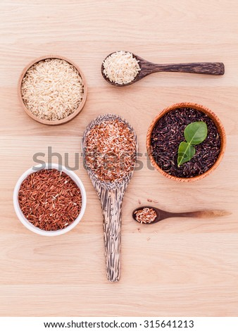 Collection of whole grain Thai jasmine rice,rice berry and brown rice best rice for healthy and clean food. - stock photo