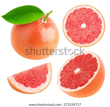 Collection of whole pink grapefruit and slices isolated on white background with clipping path - stock photo