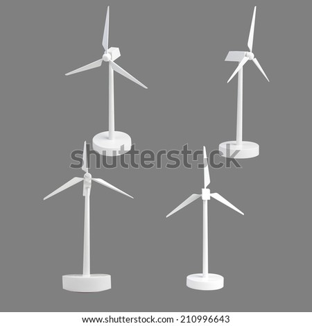 collection of wind turbine isolated on gray background with clipping path - stock photo