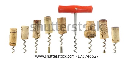 collection of wine corks and corkscrew, isolated on white background - stock photo
