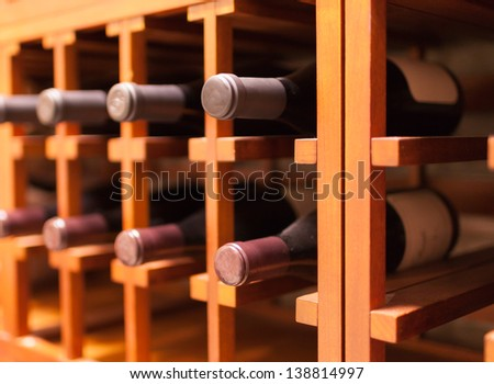 Collection of wine in cellar - stock photo