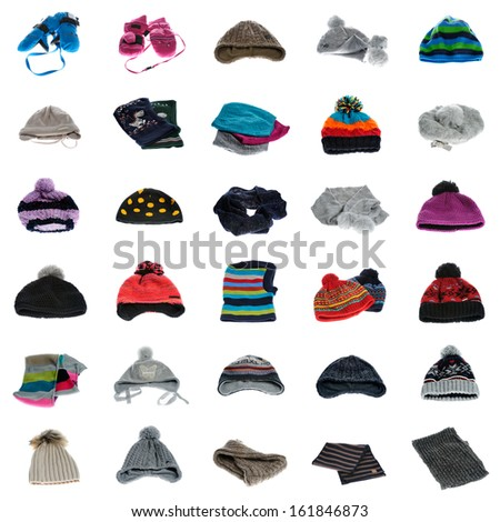 Collection of winter hats and winter wear - stock photo
