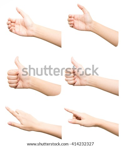 Collection of woman hand isolated on white background - stock photo