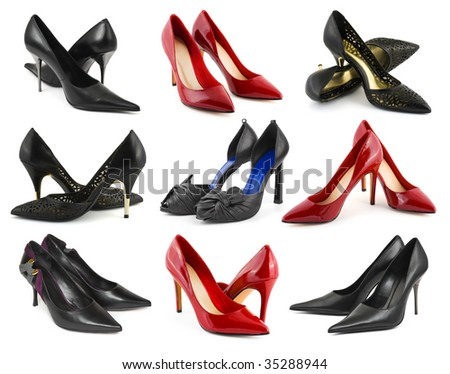 Collection of woman shoes isolated on white background - stock photo