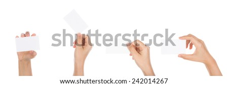 Collection of  Women hand holding blank paper business card isolated on white background - stock photo