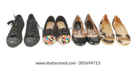 Collection of women's shoes on a low course - stock photo