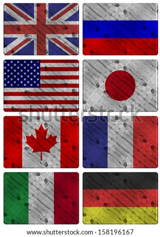 Collection of wooden flags of G8 group members / G8 wooden flags - stock photo