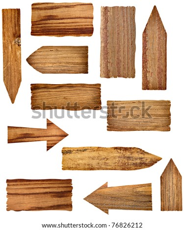 collection of wooden signs on white background. each one is a separate picture - stock photo