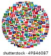 Collection of world flags on white isolated, illustration - stock photo