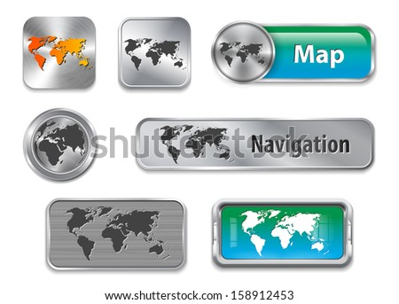 Collection of World map on brushed metallic and glossy buttons - stock photo